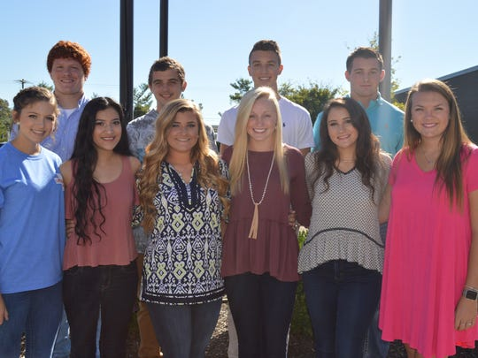 Senior Homecoming Court is,  front row from left: Clara Dixon, Fernanda Gomez, Sarah Woods, Olivia Wheeler, Callie Brown and Riley Mabe. Back row, from left: Matthew Market, Dylan Chambers, Braxton Scales and Jake Bartlett. Not pictured: Enzo Maciel and Zebb Cowan.