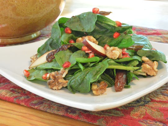 Spinach Salad with Pear, Dates & Pomegranates brings