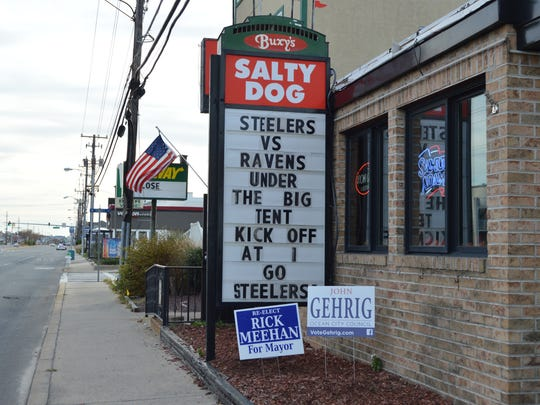 A spirited marquee sign board outside Buxy's Salty Dog Saloon in Ocean City.