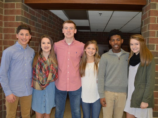 Henderson's freshman homecoming court are, pictured from left: Bradley Smith, Emma Pendergraft, Sam Elliott, Morgan Green, Jalonnie Facen and Whitnie West.