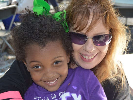 Melissa Gagnon and her Granddaughter, Amaya (4) came from Ball to spend time at the Mardi Gras party at the zoo on Feb. 25.