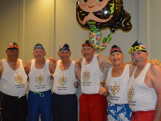 """Indian Rivers Estates' humorous """"synchronized swim team"""" of Jerry Durfee (from left), Bob Stuart, Dave Withee, David Eldridge, Neil Barr, and Keith Martin wowed the crowd in a short comic skit."""