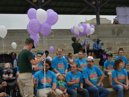 Cadets from Camp Beauregard's Youth Challenge Program handed balloons to those walking in the 2017 March for Babies.