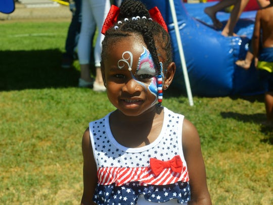 Abigail Agbagau got her face painted at the Visalia