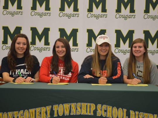 From left to right: Montgomery's Julia Loffredo, Abigail O'Connor, Peyton Schnackenberg and Kylie Karsay sign their National Letters of Intent on Wednesday.