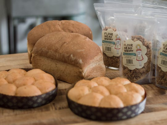 A sampling of products from Flour Head Bakery. They are sold at Three Rivers Market and Kroger in Bearden, as well as Tomato Head and other area restaurants.