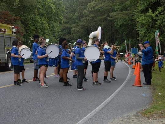 The Stephen Decatur Middle School Marching Band performs