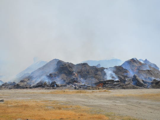 A debris fire at the Tulare Golf Course.