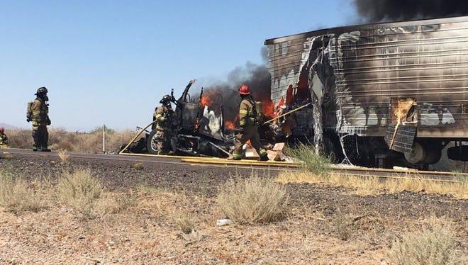 I-10 truck fire near milepost 165 closes both lanes.