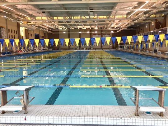 The massive swimming pool inside Carmel High School.