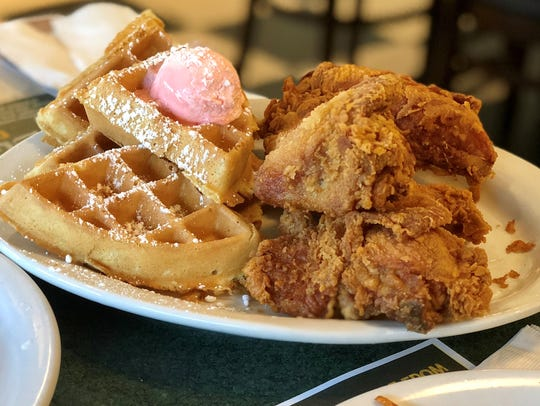 Fried chicken and waffles come with strawberry butter