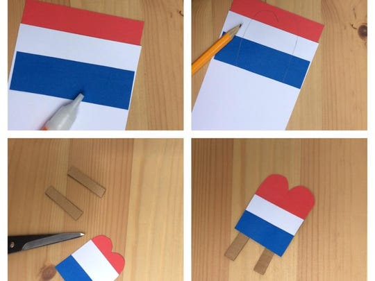 To make the Popsicle, stack red, white and blue strips of cardstock on top of each other so that about half an inch of each color is showing. Sketch and cut out a Popsicle shape. Glue two small pieces of cardboard to the back for sticks.