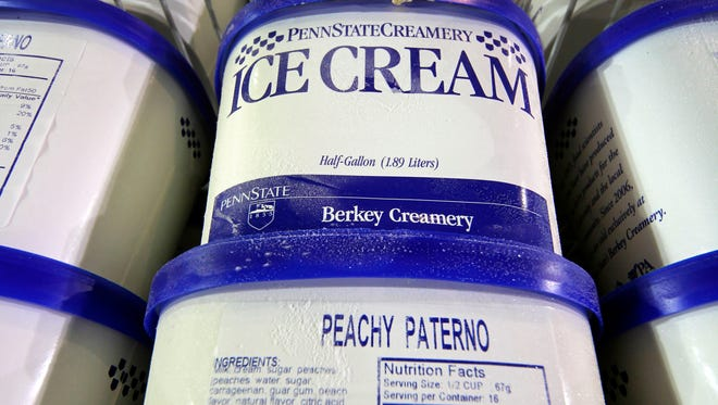 Peachy Paterno take-home ice cream is stacked in a freezer at the Penn State Berkey Creamery.