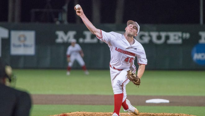 UL's Dylan Moore pitched 4.0 shutout relief innings in Wednesday night's 8-6 win over UNO at The Tigue.