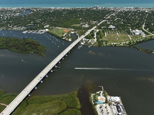 An aerial view of the Indian River Lagoon and the Barber Bridge in Vero Beach taken April 6, 2016.