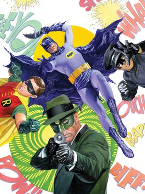 "Alex Ross' painted cover to ""Batman '66 Meet the Green Hornet"" gives new life to the characters from the '60s shows: clockwise from top, Batman (played by Adam West), Kato (Bruce Lee), Green Hornet (Van Williams) and Robin (Burt Ward)."