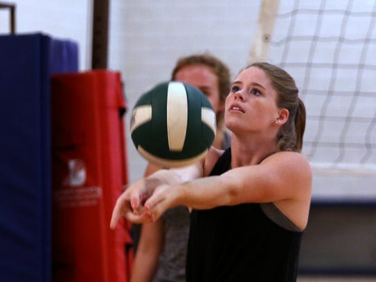 Rockport-Fulton volleyball player Allison Sanders gets
