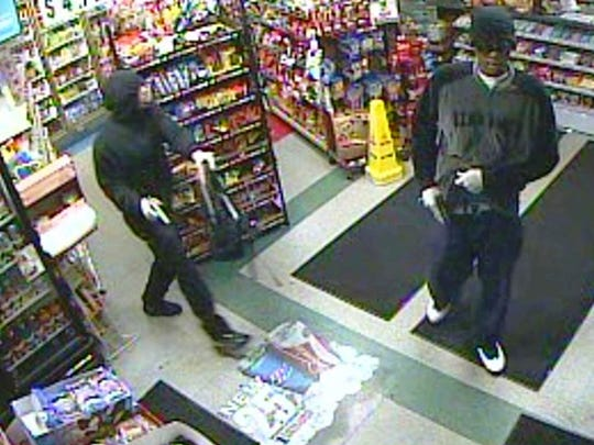Two of three alleged suspects in a string of robberies Tuesday night.
