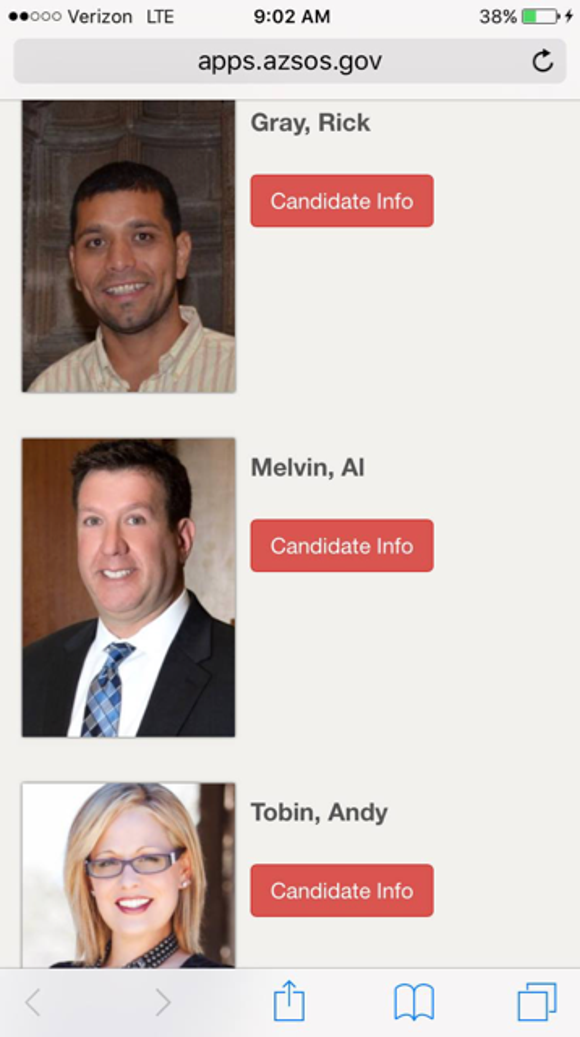 A computer glitch briefly mixed up the photos of candidates