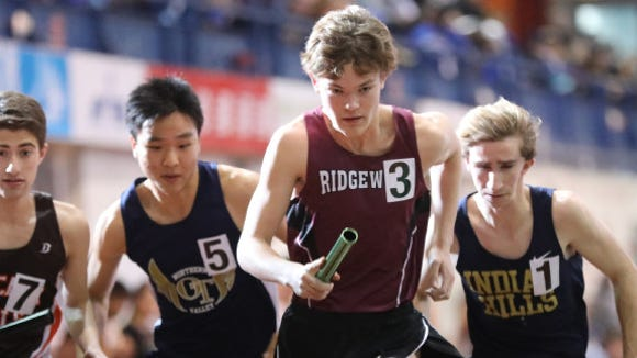 Will Bagaski runs the first leg of the 4x1 mile for Ridgewood at the Bergen County Indoor Track Relays at The Armory in New York City.
