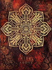 "Shepard Fairey's ""Rise Above (Caliber)"" is a new painting"