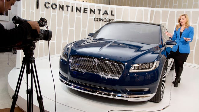 A Lincoln Continental concept car is shown at the New York International Auto Show