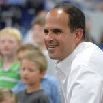 "Guests listen to Marcus Lemonis, CEO and Chairman of Camping World and host of CNBC's TV show, ""The Profit,"" Friday, July 31, 2015, during the Camping World Richmond SuperCenter grand opening."