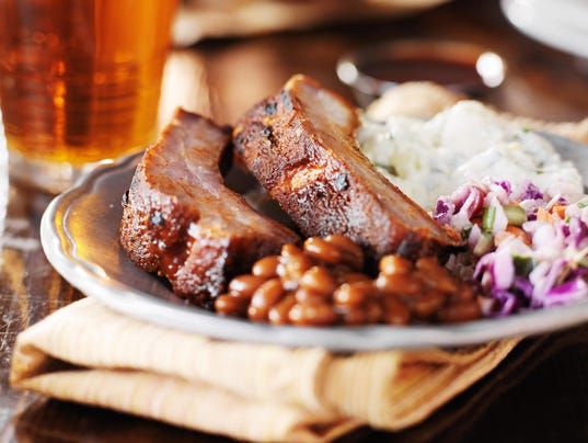barbecue rib meal with fixings