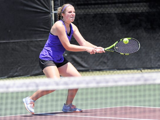 Wylie's Andrea McMillan hits a backhand during the