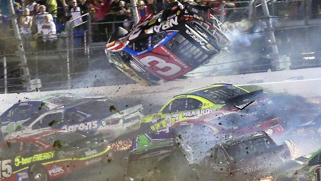 Austin Dillon (3) goes airborne as he was involved in a multi-car crash on the final lap of the Coke Zero 400.