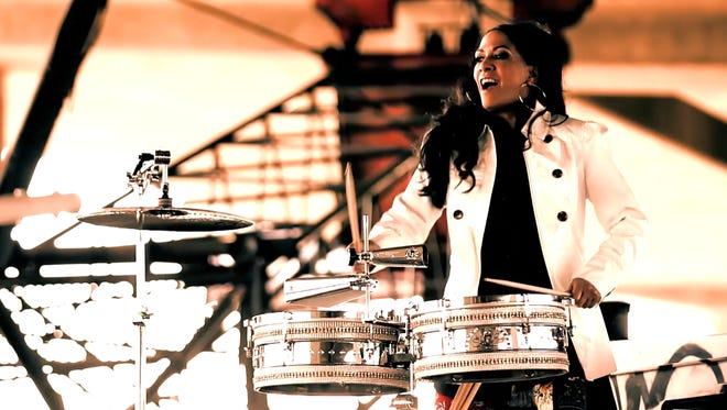 "The legendary Sheila E. on the set of her music video for the song ""Fiesta."""