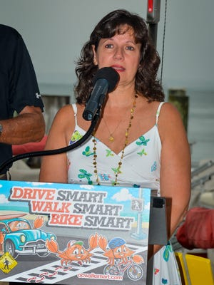 Cecilia Roe, mother of Matthew Cheswick, who died in 2012, speaks about her late son during the naming of the Ocean City Walk Smart crab mascot on Wednesday, Sept. 1 at Fish Tales at 22nd Street.