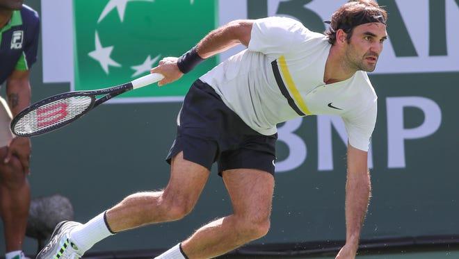 Roger Federer defeats Filip Krajinovic at the BNP Paribas Open, March 12, 2018.