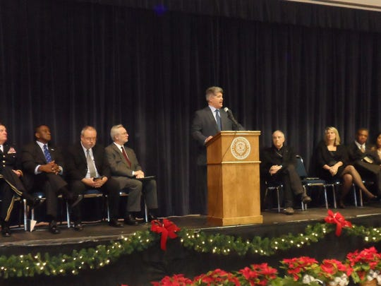 Alexandria Mayor Jacques Roy delivers his inaugural address Monday in Alexandria Convention Hall after being sworn in for a third term as mayor.