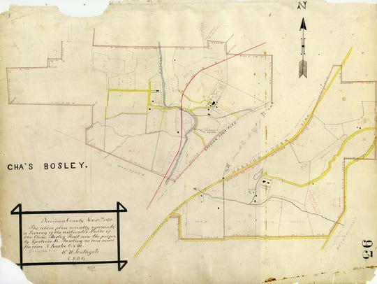 This map shows the historic Bosley Farm. The dotted