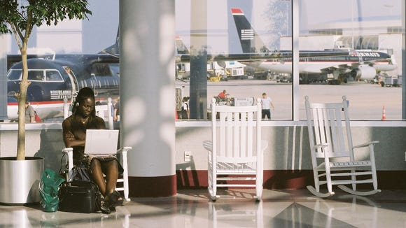 Charlotte Douglas airport rocking chairs