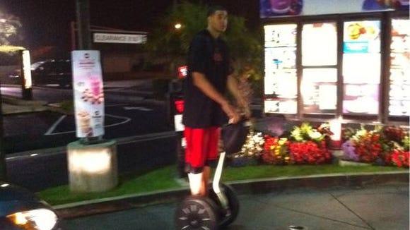 JaVale McGee on Segway at McDonald's