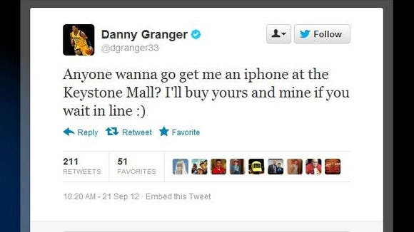 Danny Granger tweets about iPhone 5