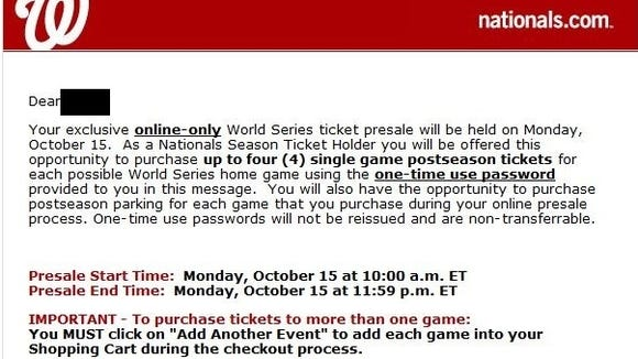 Nationals season ticket holders received this email Saturday morning