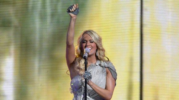Carrie Underwood performs at Nashville's Bridgestone Arena.