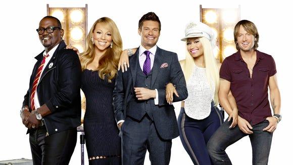 Pictured L-R: Randy Jackson, Mariah Carey, Ryan Seacrest, Nicki Minaj and Keith Urban.\