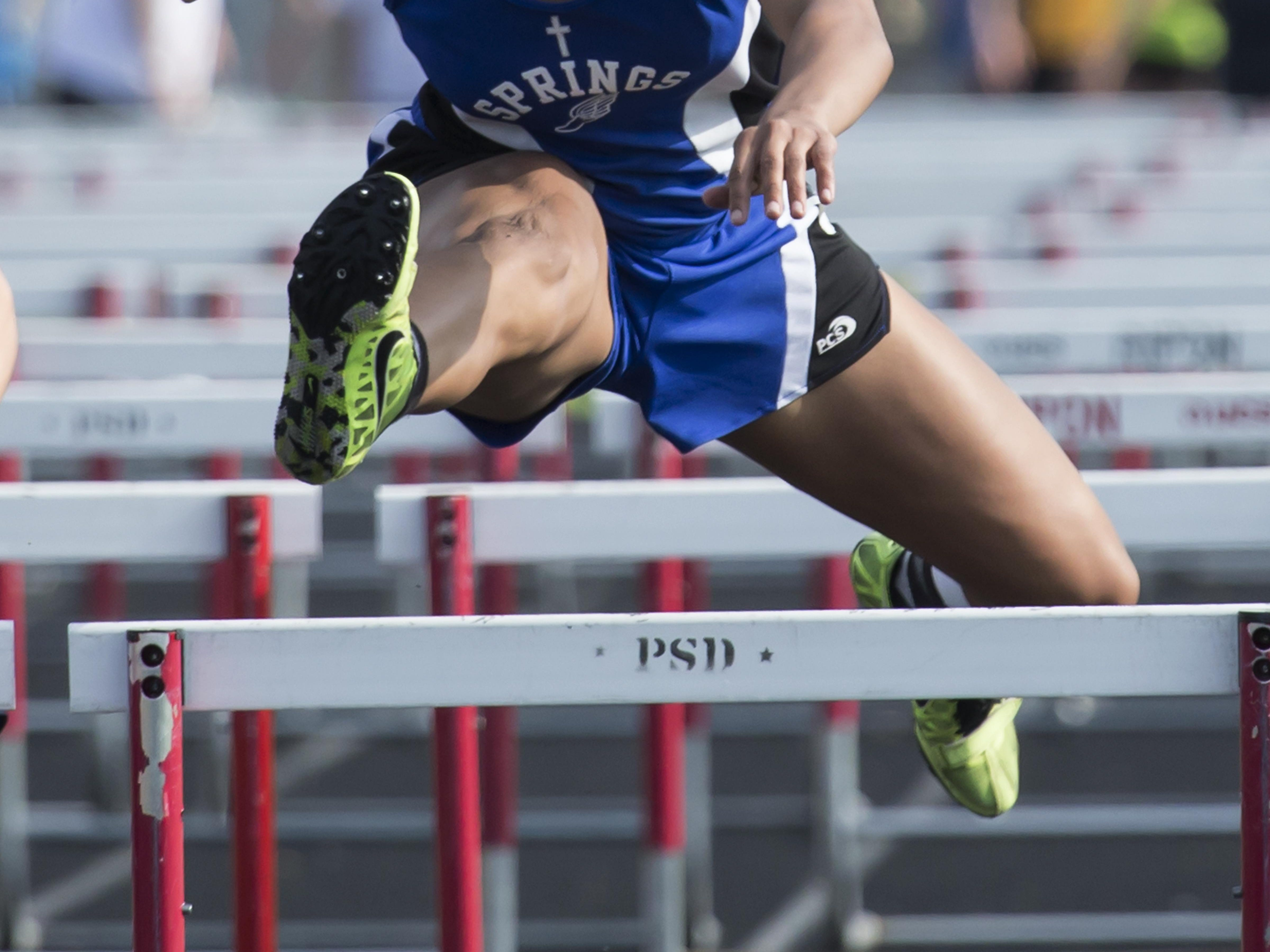 St. Mary's Springs' Anja Smith competes in the hurdles in last Friday's Division 3 sectional track and field meet at Princeton.