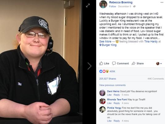 Rebecca Boening's Facebook post