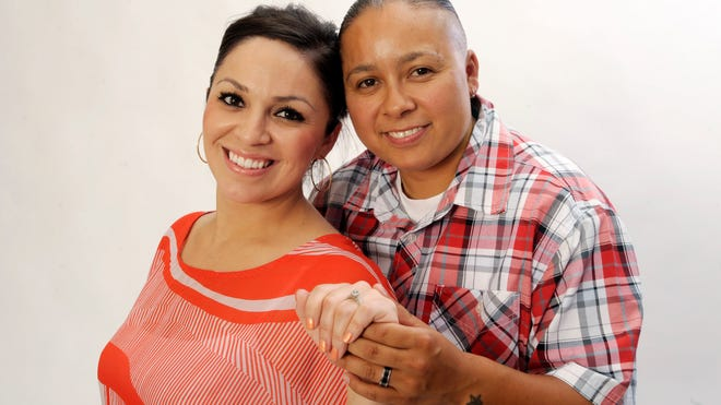 Monique (Munoz) Anaya, left, and Malika Anaya, both of Visalia, were married March 25, 2014.
