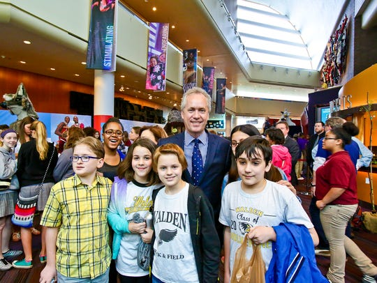Mayor Greg Fischer with participants in WE DAY last