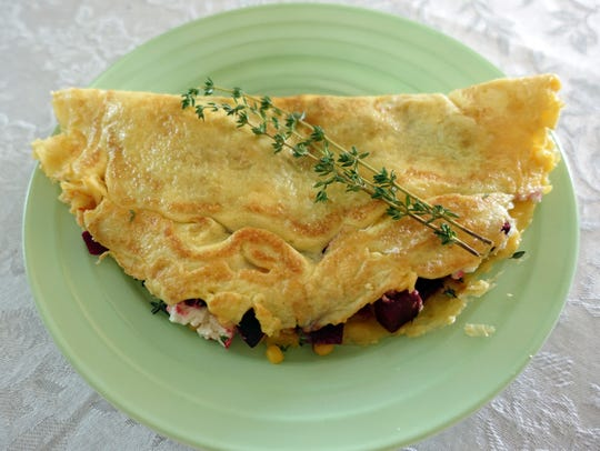 Beets, goat cheese, corn and thyme make a flavorful,