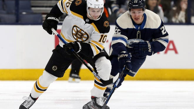 Bruins forward Anders Bjork, left, battles the Blue Jackets' Sonny Milano for the puck during a game in January.