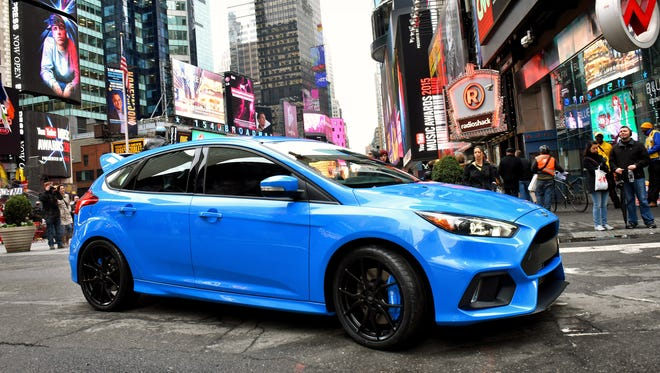 The 2016 Ford Focus RS is photographed in Times Square in New York in April 2015.