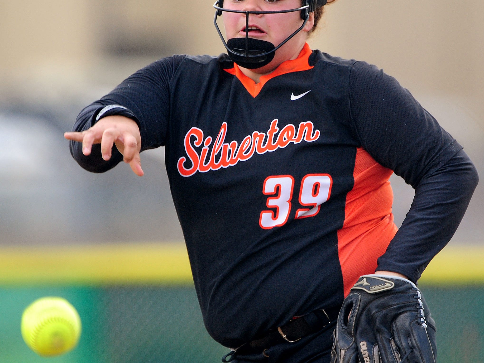 Silverton pitcher Alex Molloy throws against Central during the first game of a doubleheader, on Friday, April 24, 2015, in Independence.