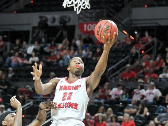 Jonathan Stove takes it to the basket as the Cajuns take on Troy in mens basketball. Saturday, Feb. 11, 2017.